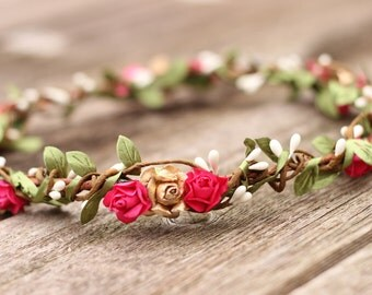 Hot Pink Ivory Flower Crown Valentines Flower Crown Gold Hair Crown Headpiece Floral Hair Wreath Floral Headband Pink Wedding Hair Crown