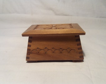 Vintage 1970's Handmade Hand  Carved Wooden Jewelry Box -Small Size- NEW