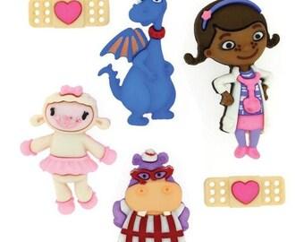SET Of 6 Shank Adorable Doc McStuffins Shank/Hoop Sewing Buttons