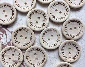 SET of 20 Wooden Handmade With Love 2 hole sewing buttons