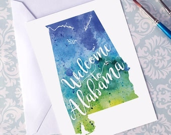 Alabama Watercolor Map Greeting Card, Welcome to Alabama Hand Lettered Text, Gift or Postcard, Giclée Print, Map Art, Choose from 5 Colors