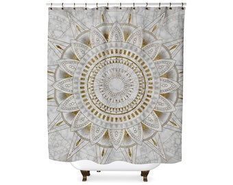 Marble and gold mandala pattern shower curtain