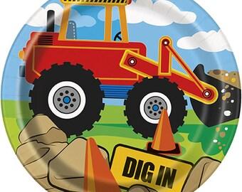 Construction Party Plates/Bulldozer Party Plates/Construction Theme Party Plates/Construction Small Dessert Plates