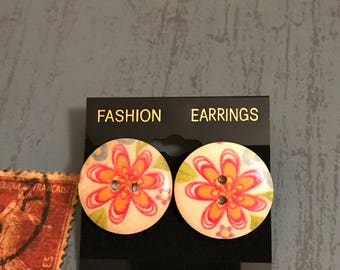 Large Pink flowers Button Post Earrings