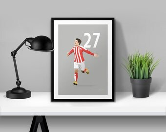 Bojan Stoke City 27 Illustrated Poster Print | A6 A5 A4 A3
