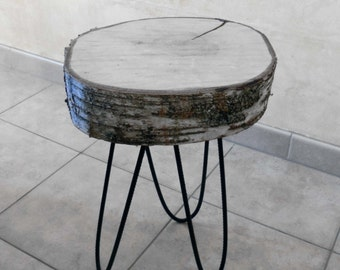 Table low wood, coffee table, table birch, birch table, round table, round table