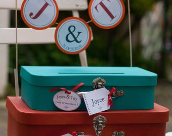 Urn / stack of suitcases gift box