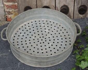 Large french zinc galvanized metal strainer sieve vintage garden / kitchen