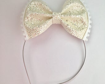 White, ivory Glitter bow, pom pom metal headband with rubber tips