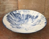 Porcelain Blue Moon Bowl - Wheel Thrown Serving Bowl with Mocha Diffusion