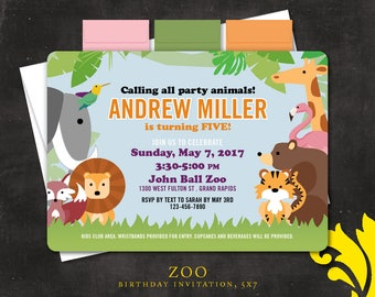 ZOO . birthday invitation