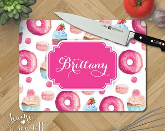 Sweet Shoppe Personalized Glass Cutting Board Monogrammed Donut Cupcake Kitchen Decor Wedding Or