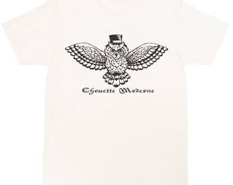 Modern Owl Unisex Crew Neck T-shirt - Mustache Animal