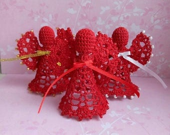 Set of 3 Red beaded Lace Angel Christmas Angel chrochet ornament Christmas ornament Christmas decor christening gift