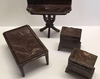 Plasco Marbled Tables lot-vintage Dollhouse Miniature Furniture