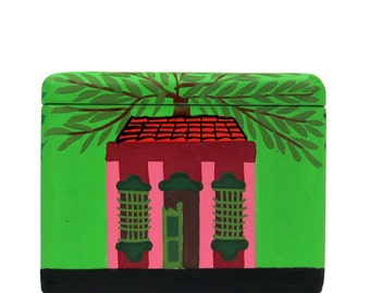 Colorful Wooden Box - Jewelry Box - Organizer Box - Hand Painted Scenic Small Wooden Box