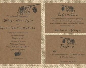 Woodland Wedding Invitations, Printable Wedding Invites, Wedding Invitation Suite, Rustic Wedding