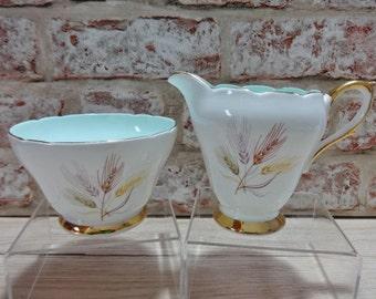 Vintage Pastel green Wheat Gold Sutherland Fine Bone China Milk Jug & sugar bowl