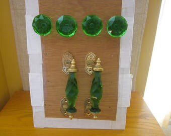 Set of Cut Glass Handles and Knobs, Green with Brass fittings- 2 Handles & 4 Knobs