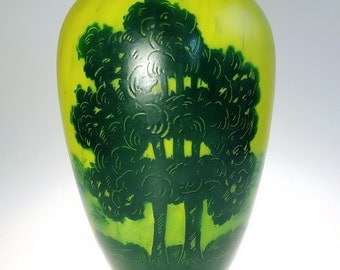 Hand Painted Art Glass Table Vase Green