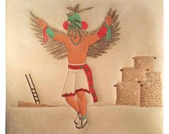 Hopi Kachina Painting Wall Art on Tufted Suede 24 x 24 Native American Peyote