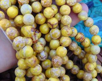 "8mm Smooth Yellow Sea Sediment Jasper Beads, 15"" strand, Round Imperial Jasper, Emperor Jasper, Aqua Terra Jasper, Gemstone Beads, #R8S-079"