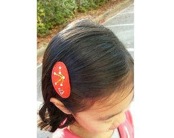 Star Sign Hair Clip,Zodiac Constellation Horoscope,Crystal Rhinestone Hair Clip,Felt Hair Clip,No Slip Snap Clip