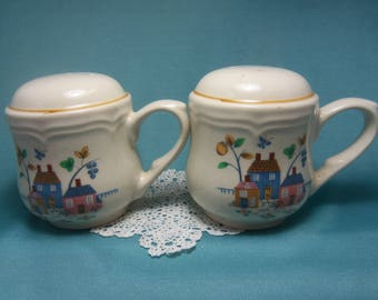 Vintage Country Homes Salt and Pepper Shakers, Creamy White Ceramic, Shakers with Handles, Pink and Blue,
