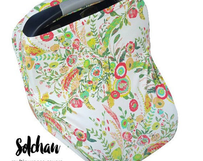 Stretchy Car Seat Cover/Nursing Cover by Solchan || Multiuse Stretch Baby Carseat Cover, girl canopy floral flowers