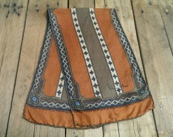 Vintage 60s 70s Richard Allan Silk Cravat Tile Print Dapper Ascot Scarf