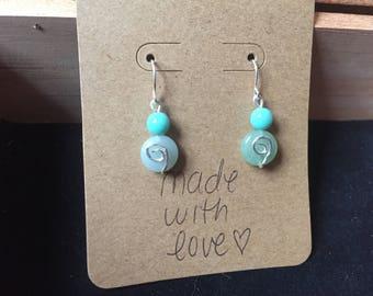 Blue Beaded Spiral Earrings