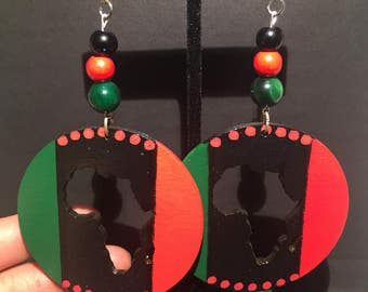 Red, Black, and Green Africa Earrings