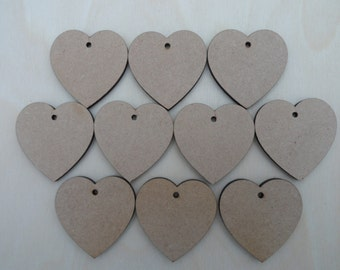 Multiple packs of 10 x MDF Laser Cut Heart Embellishments With Hole 5 cm x 5 cm x 3 mm, Hole = 3 mm, Wedding Favours, Rustic Wedding