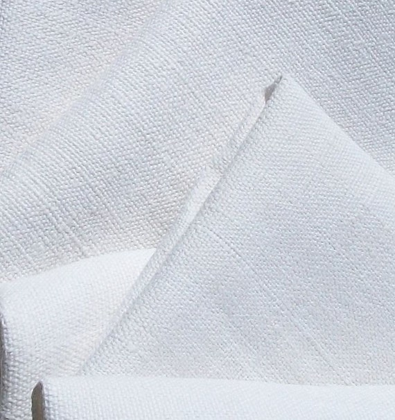 Antique Vintage French white chanvre Linen Trousseau fabric dowry material  loom width
