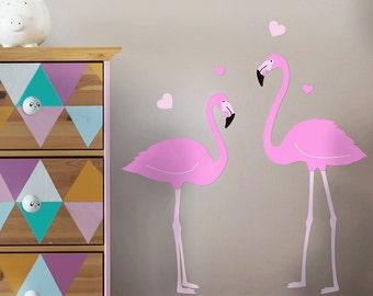 Set of 2 Flamingos Wall Decal, Flamingo Wall Decal, Girls Wall Decal, Nursery Wall Decals, Cute Wall Decals, Flamingo Wall Sticker - Todeco