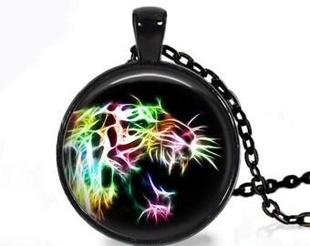 FRACTAL TIGER FELINE Handmade Pendant Necklace