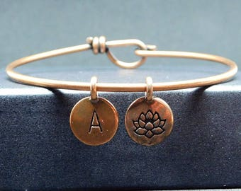 Lotus copper bangle bracelet with initial, lotus bracelet, lotus gift
