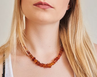 Genuine Natural Baltic Amber Necklace Cognac Brown Beads Sterling Silver Clasp Easter Free USA Australia Shipping