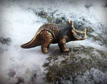 Triceratops, brass, dinosaur, figurine