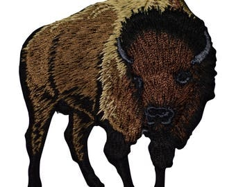 Brown Bison Buffalo Applique Patch (Iron on)