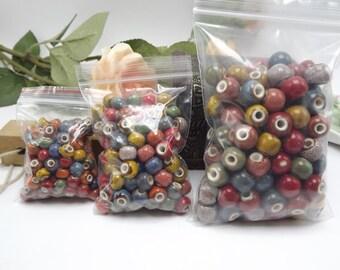 100 x mixed hollow ceramic beads