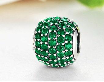 Sterling 925 silver charm vibrant green bead pendant fits Pandora charm and European charm bracelet
