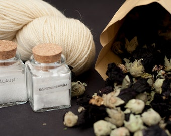Natural Dye Kit - Hollyhock - organic wool - dyeing with plant dyes