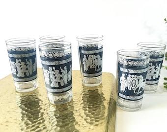Vintage glasses vintage glassware mid century modern mcm vintage barware vintage drinking glasses blue glasses wedgwood jasperware greece