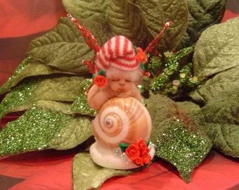 Christmas Fairy Baby in Shell,OOAK, One of A Kind Hand Sculpted Collectible Art Doll