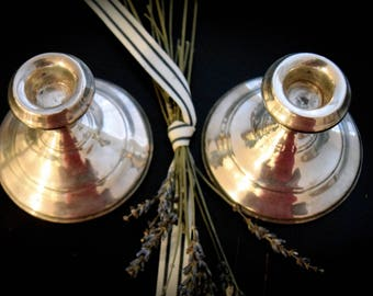 A Pair of Antique Sterling Silver Candle Stick Holders       Sku: C314