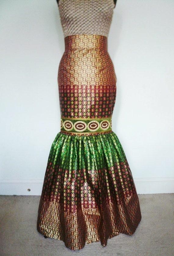 gold and green mermaid skirt formal maxi skirt ankara