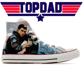 Top Dad Fathers Day custom converse high Maverick Gun shoes