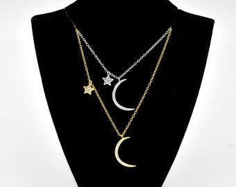 Sterling Silver Rhodium Plated CZ Star & Crecsent Moon Necklace