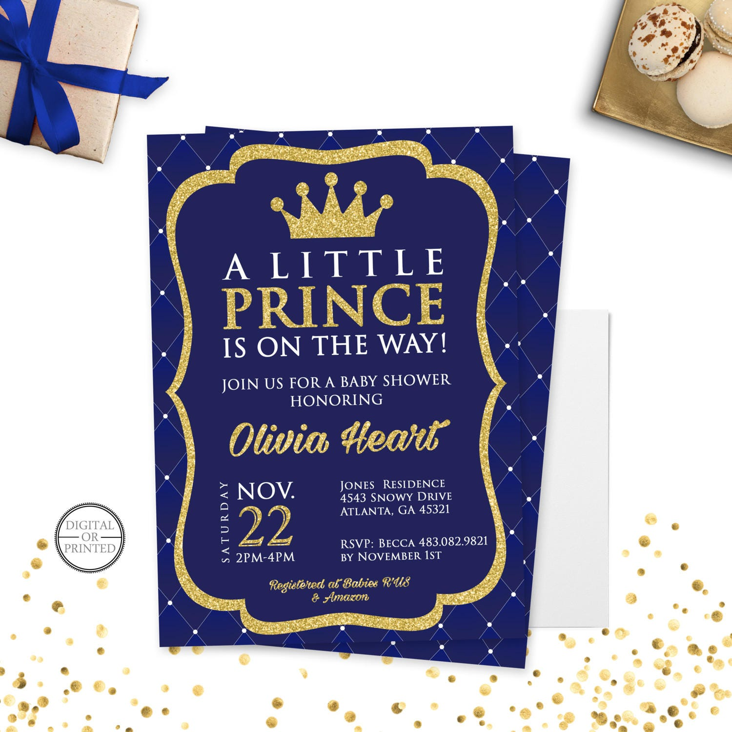 Prince Baby Shower Invitation Royal Prince Baby Shower